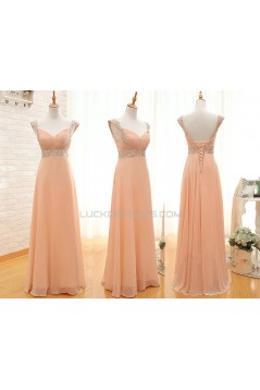A-Line Beaded Straps Sleeveless Long Chiffon Prom Evening Formal Dresses ED011543