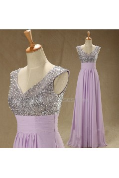 A-Line Beaded Sequin Long Chiffon Prom Evening Formal Dresses ED011544