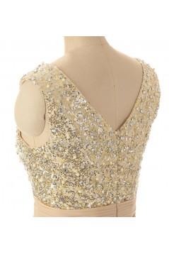 A-Line V-Neck Beaded Sequin Long Chiffon Prom Evening Formal Dresses ED011545
