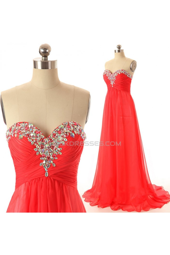 A-Line Sweetheart Beaded Long Red Chiffon Prom Evening Formal Dresses ED011546