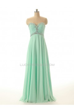 A-Line Sweetheart Beaded Long Chiffon Prom Evening Formal Dresses ED011547