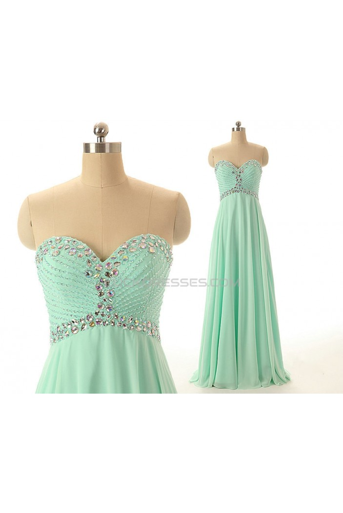 A-Line Sweetheart Beaded Long Chiffon Prom Evening Formal Dresses ED011547