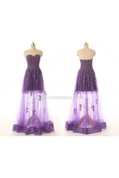 A-Line Sweetheart Long Purple Applique and Tulle Prom Evening Formal Dresses ED011551