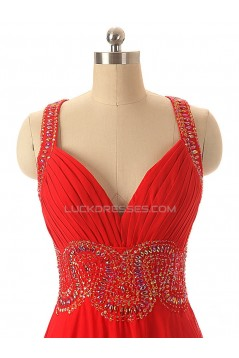 A-Line Beaded Long Red Chiffon Prom Evening Formal Dresses ED011552