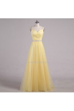 A-Line Beaded Tulle Long Yellow Prom Evening Formal Dresses ED011554