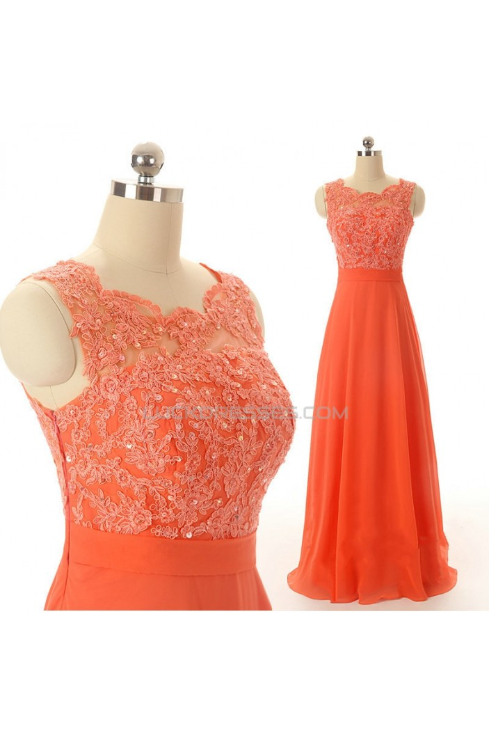 A-Line Beaded Applique and Chiffon Long Prom Evening Formal Dresses ED011556
