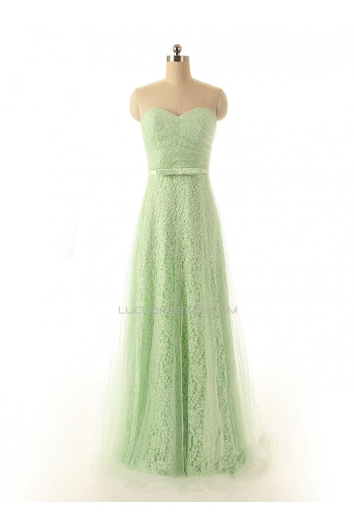 A-Line Sweetheart Long Lace and Tulle Prom Evening Formal Dresses ED011557