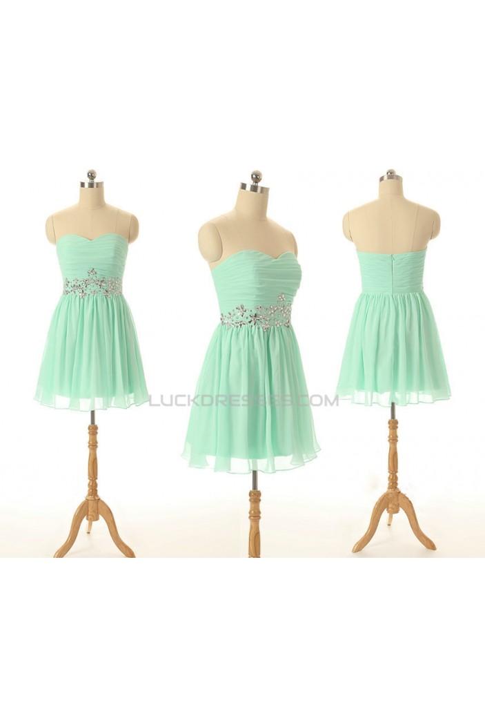 A-Line Sweetheart Beaded Short Chiffon Prom Evening Bridesmaid Dresses ED011558