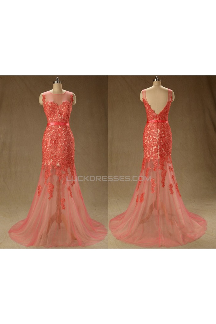 Trumpet/Mermaid Lace Applique Long Red Prom Evening Formal Dresses ED011560
