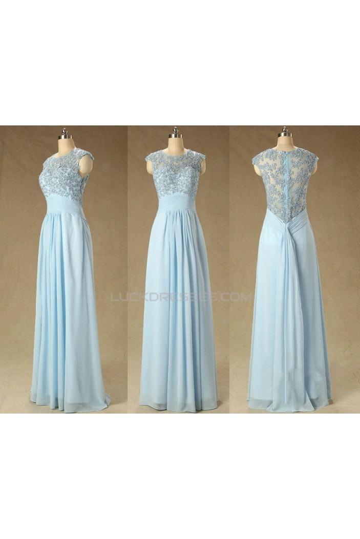 A-Line Jewel Long Blue Applique and Chiffon Prom Evening Formal Dresses ED011561