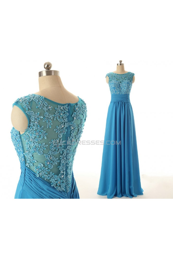 A-Line Jewel Long Applique and Chiffon Prom Evening Formal Dresses ED011562