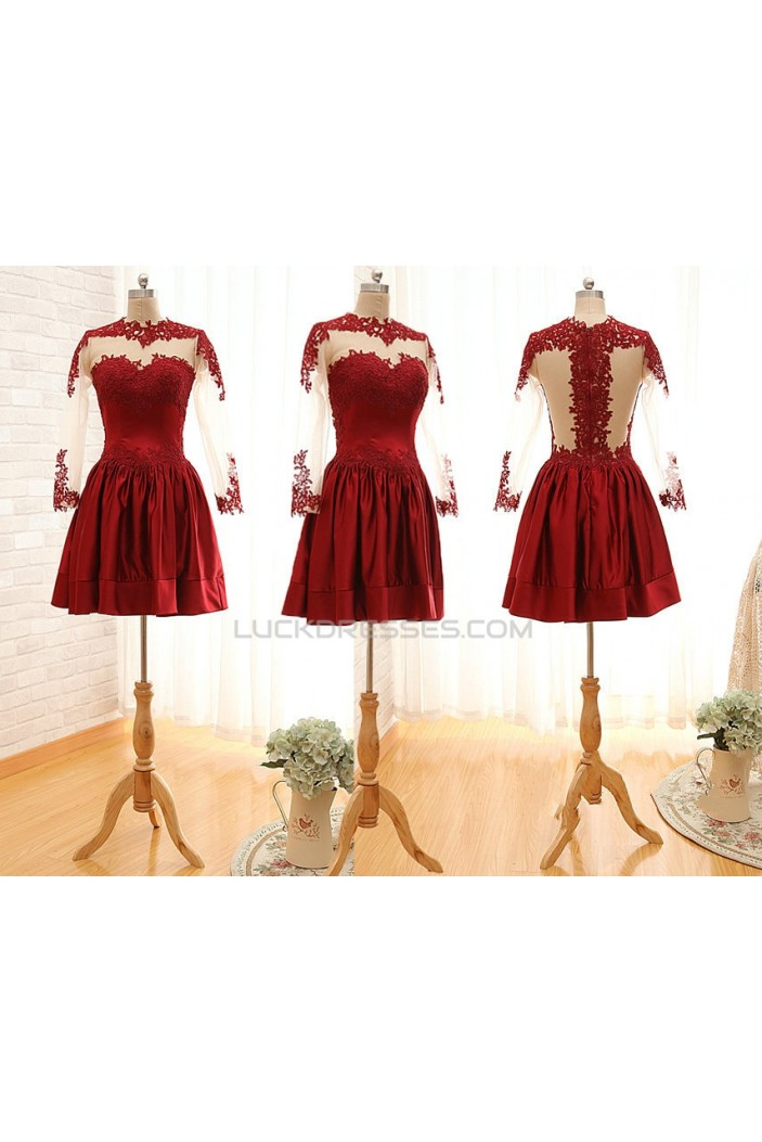 A-Line Jewel Long Sleeve Red Applique and Satin Prom Evening Formal Dresses ED011563