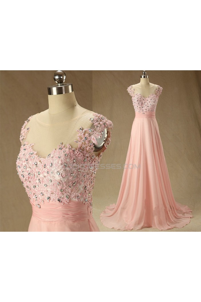 A-Line Beaded Applique and Chiffon Prom Evening Formal Dresses ED011568
