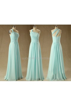 A-Line One-Shoulder Long Chiffon Prom Evening Bridesmaid Dresses ED011569