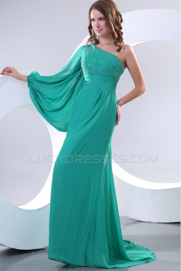 One-Shoulder Beaded Long Chiffon Prom Evening Formal Party Dresses ED010157