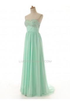 A-Line Sweetheart Beaded Long Chiffon Prom Evening Formal Dresses ED011571