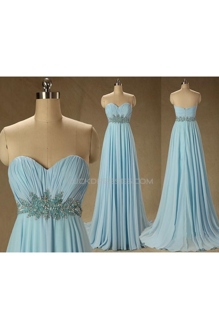 A-Line Sweetheart Beaded Long Blue Chiffon Prom Evening Formal Dresses ED011572
