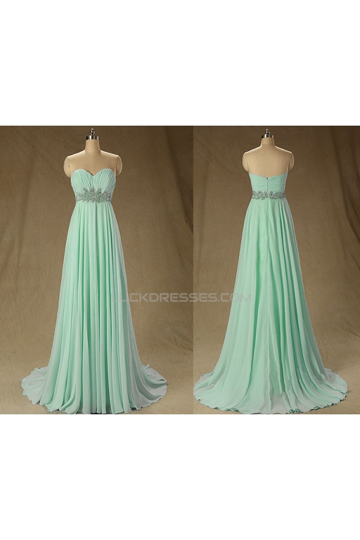 A-Line Sweetheart Beaded Long Mint Green Chiffon Prom Evening Formal Dresses ED011573