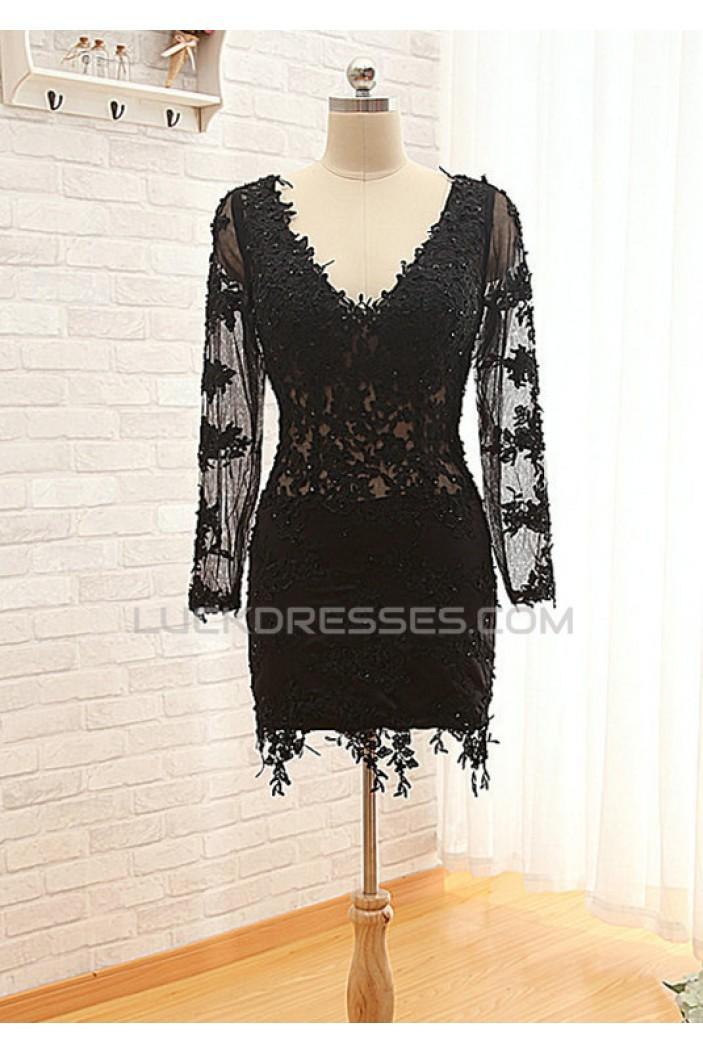 Short V-Neck Long Sleeve Black Applique Prom Evening Formal Dresses ED011575
