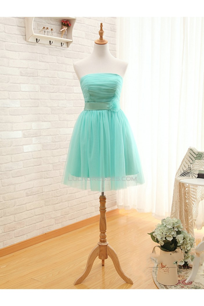 A-Line Strapless Short Tulle Prom Evening Formal Bridesmaid Dresses ED011577