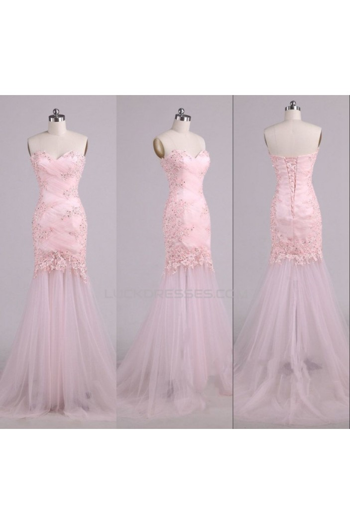 Trumpet/Mermaid Sweetheart Beaded Applique Long Pink Tulle Prom Evening Formal Dresses ED011578