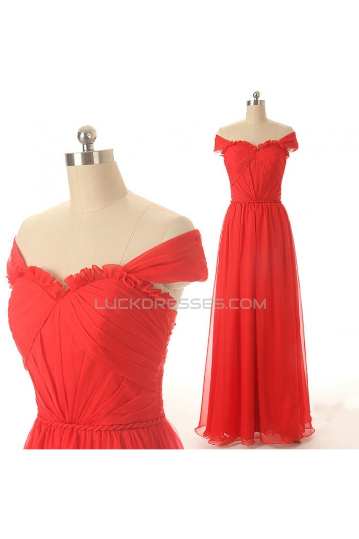 A-Line Off-the-Shoulder Long Red Chiffon Prom Evening Formal Dresses ED011579