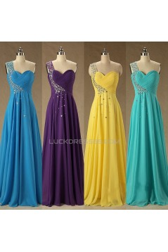 A-Line Beaded One-Shoulder Long Chiffon Prom Evening Formal Dresses ED011580