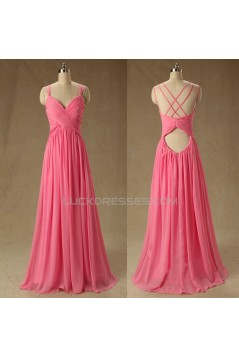A-Line Long Chiffon Prom Evening Formal Bridesmaid Dresses ED011581