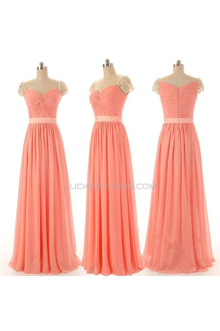 A-Line Beaded Cap-Sleeve Long Chiffon Prom Evening Formal Dresses ED011583