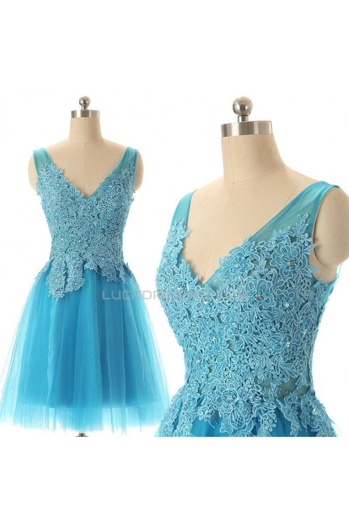 A-Line V-Neck Lace and Tulle Short Prom Evening Formal Dresses ED011584
