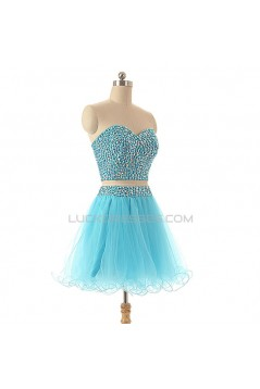 A-Line Sweetheart Beaded Two Pieces Short Prom Evening Cocktail Dresses ED011586
