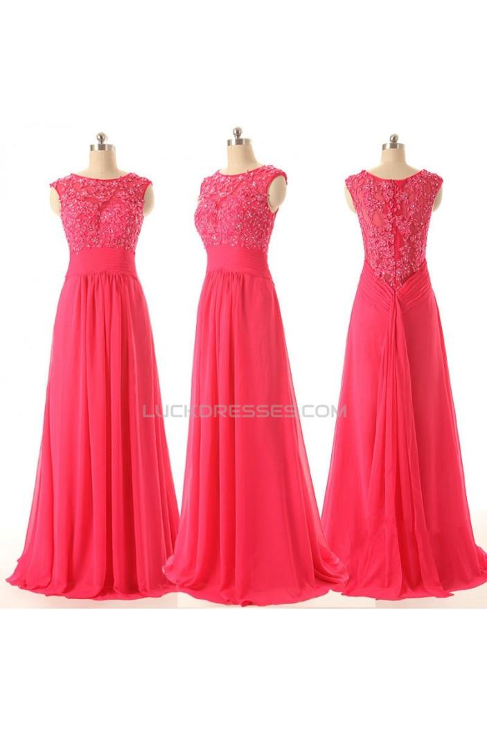 A-Line Beaded Applique Long Chiffon Prom Evening Formal Dresses ED011588
