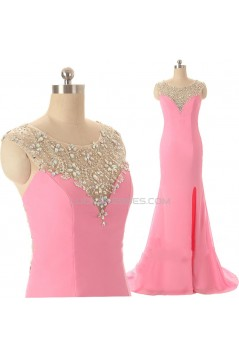 Beaded Long Pink Split-Front Prom Evening Formal Dresses ED011589