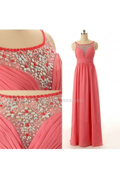 A-Line Beaded Long Chiffon Prom Evening Formal Dresses ED011590