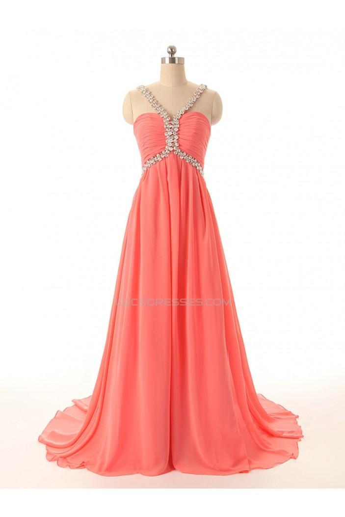 A-Line Beaded Long Chiffon Prom Evening Formal Dresses ED011592