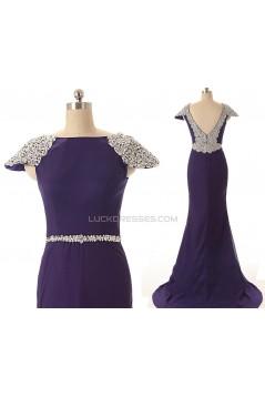 Trumpet/Mermaid Bateau Cap-Sleeve Long Chiffon Prom Evening Formal Dresses ED011593