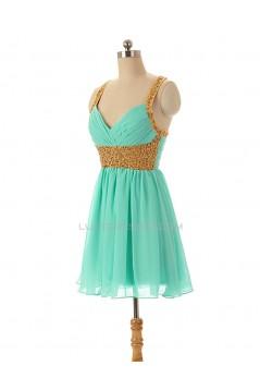 A-Line Beaded Short Chiffon Prom Evening Formal Dresses ED011594