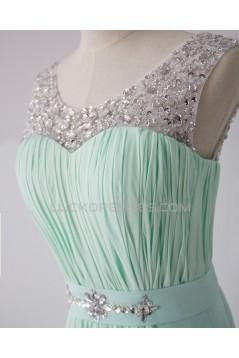 A-Line Beaded Mint Green Long Chiffon Prom Evening Formal Dresses ED011596