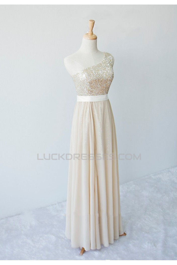A-Line One-Shoulder Long Sequin and Chiffon Prom Evening Formal Dresses ED011598