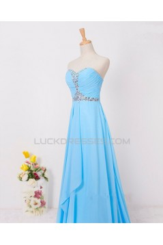 A-Line Sweetheart Beaded Long Blue Chiffon Prom Evening Formal Dresses ED011599