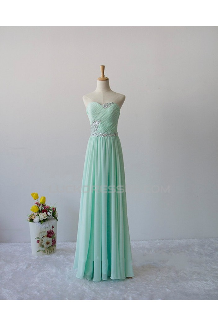 A-Line Sweetheart Beaded Mint Green Long Chiffon Prom Evening Formal Dresses ED011602