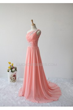 A-Line One-Shoulder Beaded Long Chiffon Prom Evening Formal Dresses ED011604