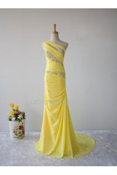 Elegant Beaded One-Shoulder Long Yellow Chiffon Prom Evening Formal Dresses ED011605