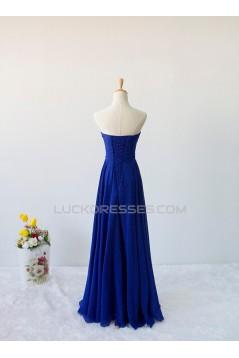 A-Line Sweetheart Beaded Long Blue Chiffon Prom Evening Formal Dresses ED011606