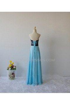 A-Line Strapless Lace and Chiffon Long Prom Evening Formal Dresses ED011608