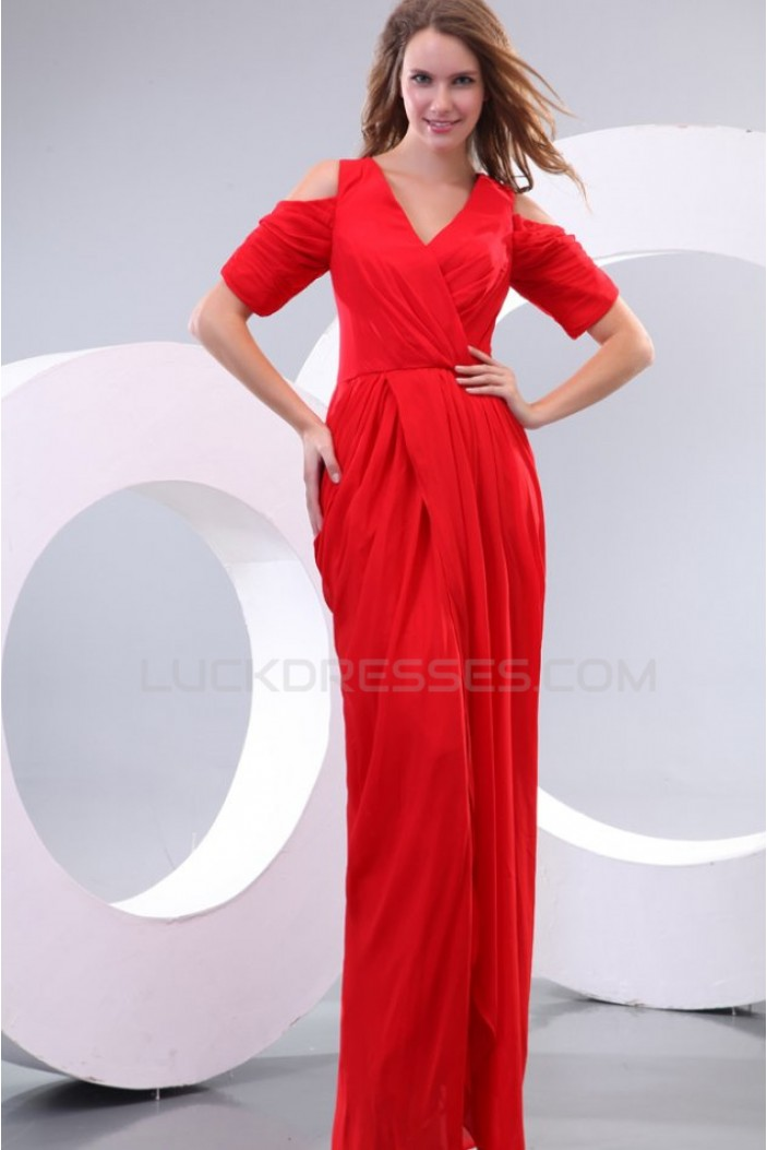 Long Red Short Sleeve Chiffon Prom Evening Formal Party Dresses ED010161