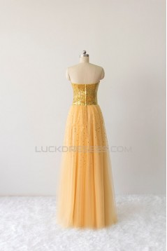 A-Line Sweetheart Sequin and Tulle Long Prom Evening Formal Dresses ED011611