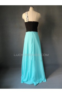 A-Line One-Shoulder Long Chiffon Prom Evening Formal Dresses ED011612