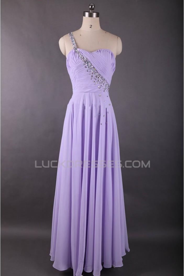 A-Line One-Shoulder Lilac Long Chiffon Prom Evening Formal Dresses ED011613