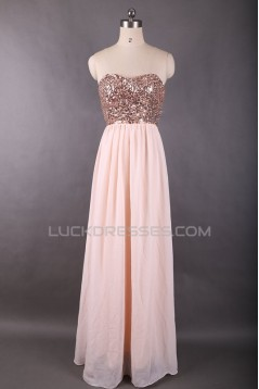 A-Line Sequin and Chiffon Long Prom Evening Formal Dresses ED011614